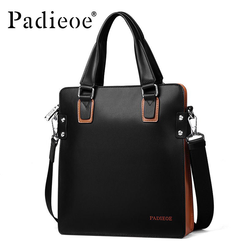 Padieoe Men Bag Briefcase Leather A4 Bag Messenger Handbag Purses Jobs Genuine Leather