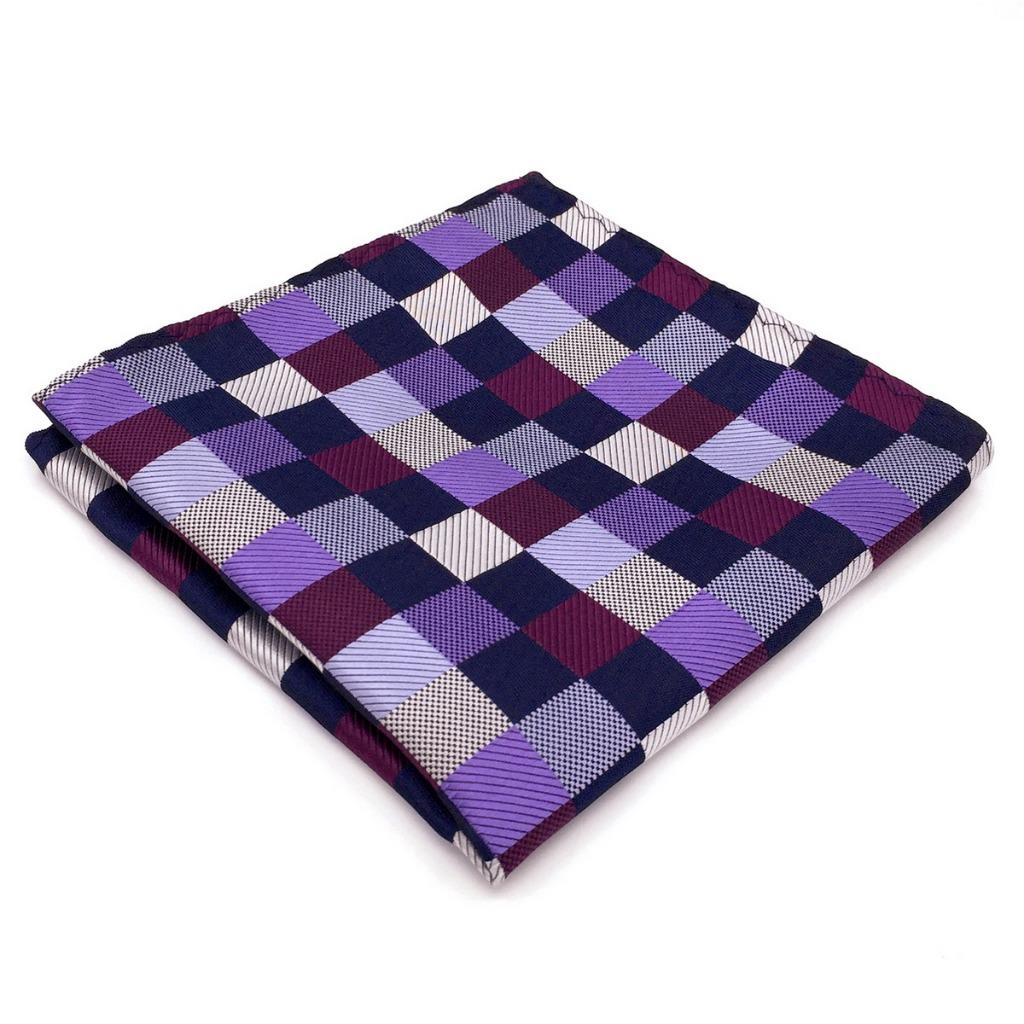 BH02 New Fashion Men Handkerchiefs Purple Multicolor Checked Silk Casual Unique Pocket Square 12.6