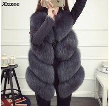 Xnxee Fox Fur Vest Natural Whole Fox Fur Vest Gilet Women Regular Standard Covered Button Design Jackets Coat Plus Size 3XL цена в Москве и Питере