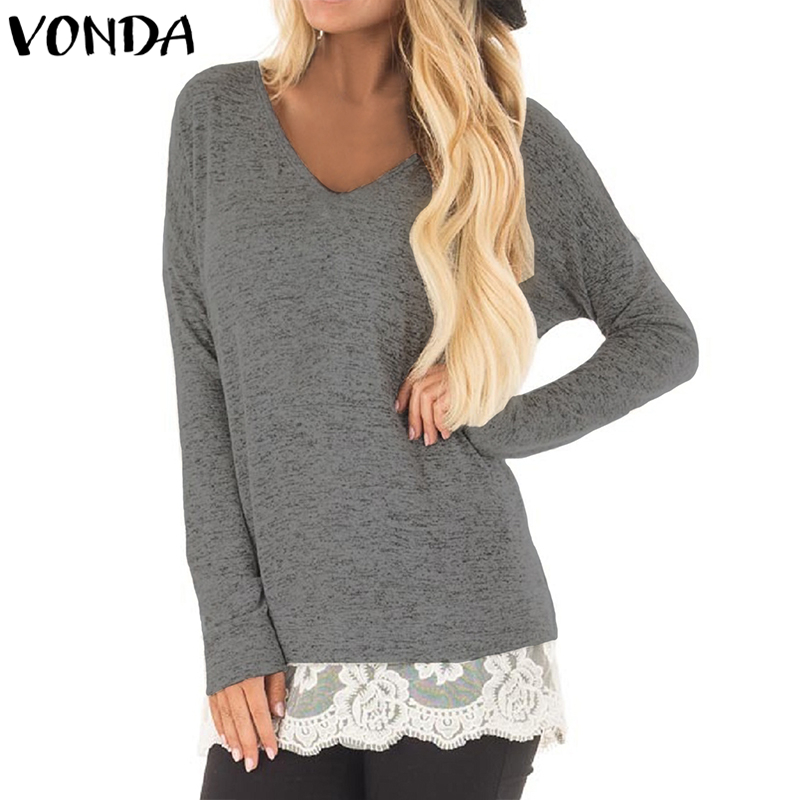 VONDA Women Blouses 2018 Autumn Lace Crochet Hem Shirts Casual Loose Patchwork Blusas Sexy V Neck Long Sleeve Tops
