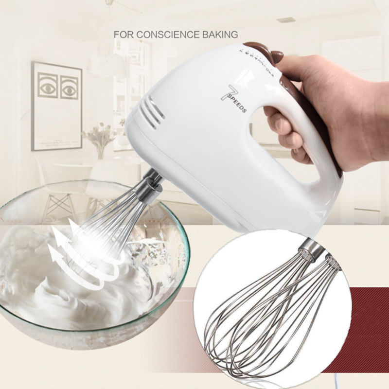 17.5*7*13cm White Egg Mixer Brand New PP plastic 100W Electric 7 Speed Handheld Food Whisk with balloon and crooked whisks
