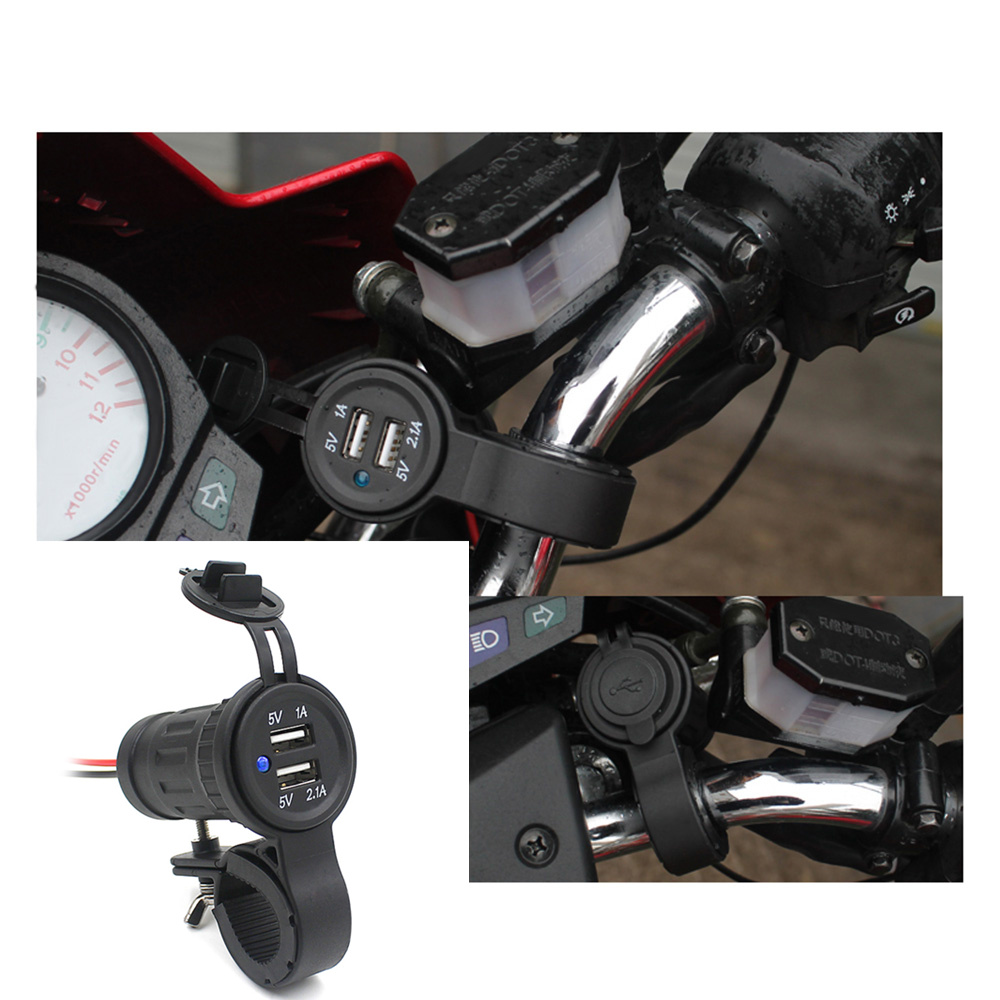 12V / 24V Motorcycle Handlebar Dual USB Phone Charger Adapter for Tablet