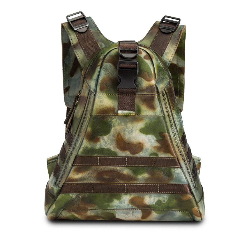 À Triangle Voyage Véritable Qualité De camouflage Naturel Luxe Grey En Cuir Hommes Sac Haute Casual Dos Camouflage Peau brown IYbfg76yv