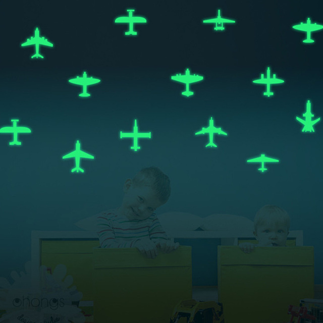 US $2 58 30% OFF|15Pcs Luminous Mini Airplane Wall Stickers Glowing In The  Dark Light Baby Nursery Room Wall Decoration Aircraft Nightlight Decal-in