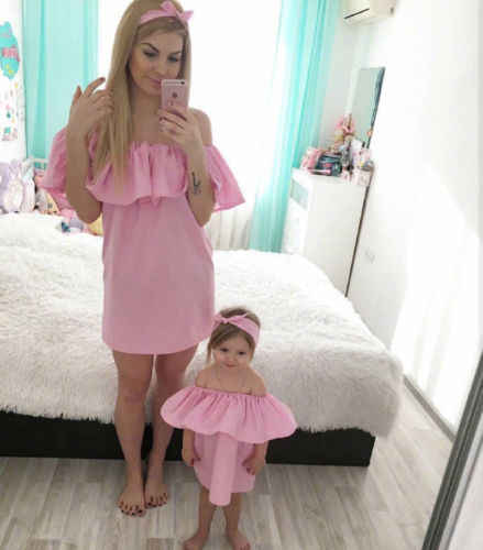 38e7cefa2 ... 2 Pcs pudcoco mother daughter dresses Solid Fashion for mommy me  clothes family mom baby elegant ...