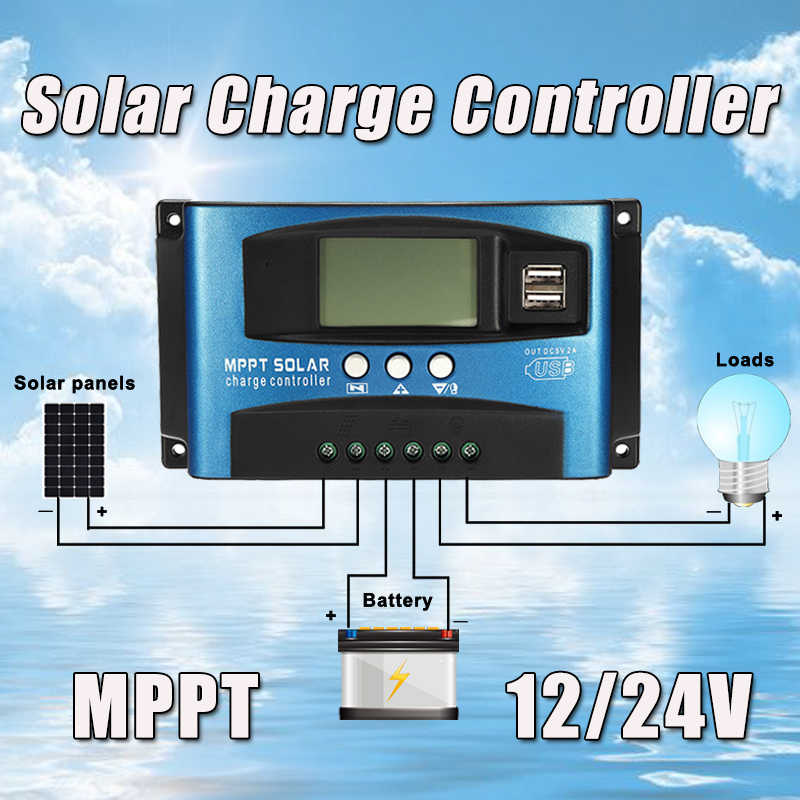 MPPT 30/40/50/60/100A Solar Charge Controller Dual USB LCD Display 12V 24V Auto Solar Cell Panel Charger Regulator with Load