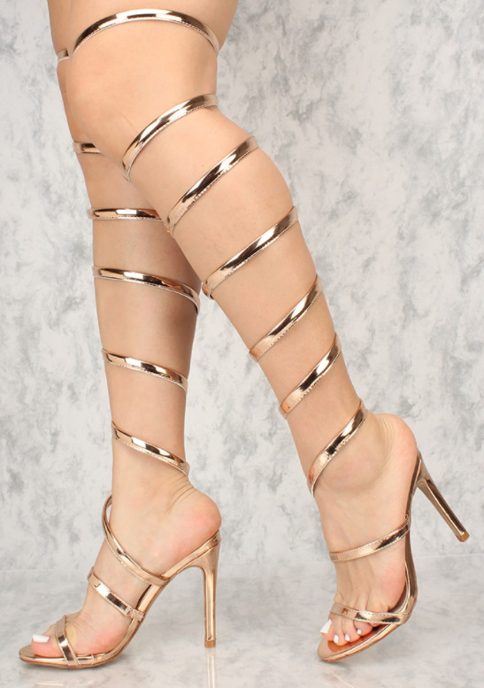New Arrivals Gold Metallic Leather Thigh High Boots Peep Toe Cut-out Cross Strap Thin Heel Gladiator Sandals Women CustomizedNew Arrivals Gold Metallic Leather Thigh High Boots Peep Toe Cut-out Cross Strap Thin Heel Gladiator Sandals Women Customized