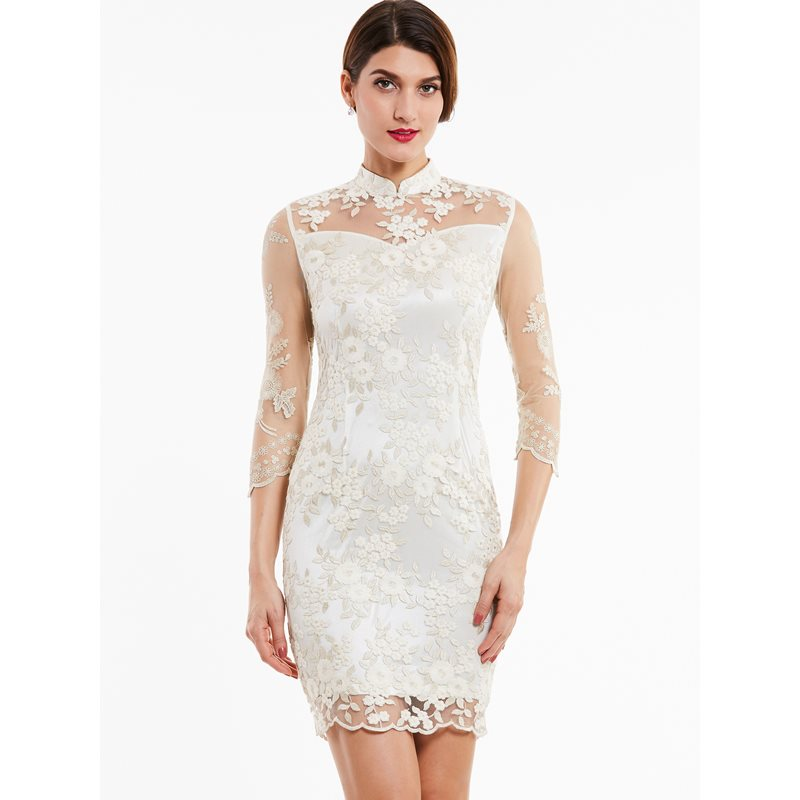 Dressv high neck   cocktail     dress   ivory appliques lace knee length straight gown women 3/4 sleeves evening short   cocktail     dresses