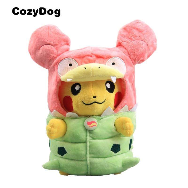 12'' Anime Mega Slowbro's Poncho-clad Pikachu Plush Toy Stuffed Doll NWT Kids Gift Japanese Cartoon Figure Toys for Children