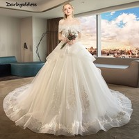 Vestido de Noiva Lace Ball Gown Wedding Dress 2019 Off Shoulder Princess Arabic Bride Dresses Luxury Long Train Weddingdress