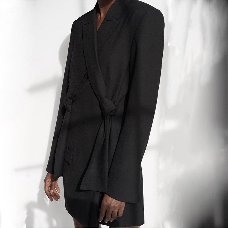 Irrégulière Turn Manches eam Printemps Personnalité Couleur down 2019 Haute Black Femme Longues gray Manteau Li194 Collar Gris Qualité Noir Spliced Mince w4PZx