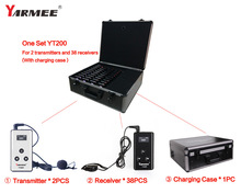 Fast Shipping !!! Yarmee YT200 VHF Audio tour guide system(2 transmitters+38 receivers+Charge case+all accessories) wireless tour guide system yt200 yarmee for museum tour guiding simultaneous interpreter wireless meeting
