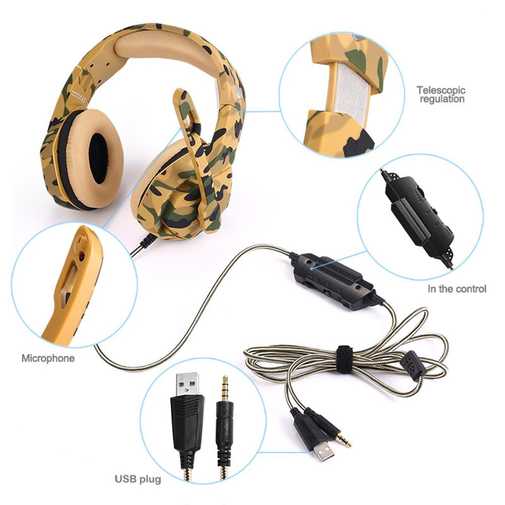 Head mounted Desert Camouflage Gaming Headset 4D Surround Sound Headset For PS4 Xbox One PC Mac With LED Light in Bluetooth Earphones Headphones from Consumer Electronics