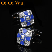 Qi Wu Luxury Shirt Cufflinks for Mens Jewelry High Quality Brand Cuff Buttons Wedding Gifts men links Free shipping