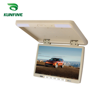 KUNFINE 15.4 INCH Car Roof Monitor LCD Flip Down Screen Overhead Multimedia Video Ceiling Roof mount Display