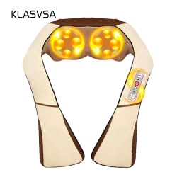 KLASVSA Electric Heating Neck Massager Cape Shiatsu Car Home Infrared KneadingTherapy Ache Shoulder Back Massageador Relax
