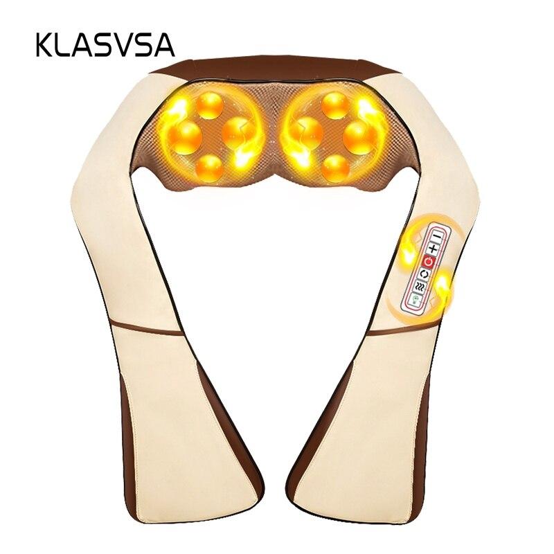 KLASVSA calefacción eléctrica masajeador de cuello cabo Shiatsu coche infrarrojos KneadingTherapy dolor de hombro, masajeador relajarse