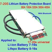 الذكية 7S إلى 20S Lifepo4 بطارية ليثيوم أيون لوح حماية BMS 400A 320A 300A 100A 80A بلوتوث الهاتف APP الروبوت 10S 13S 14S 16S