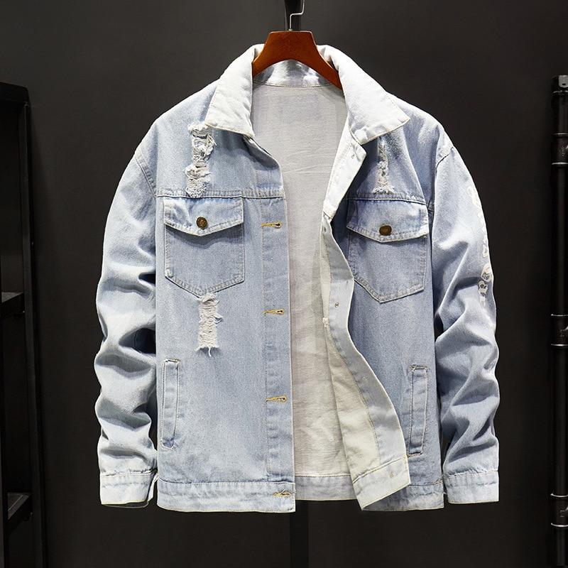 Pour Déchiré bleu Veste Streetwear Hommes 7454 Noir Coupe Homme vent Printemps Imprimer Bleu Lettre Harajuku Denim Jeans Bombardiers Noir RxAPq