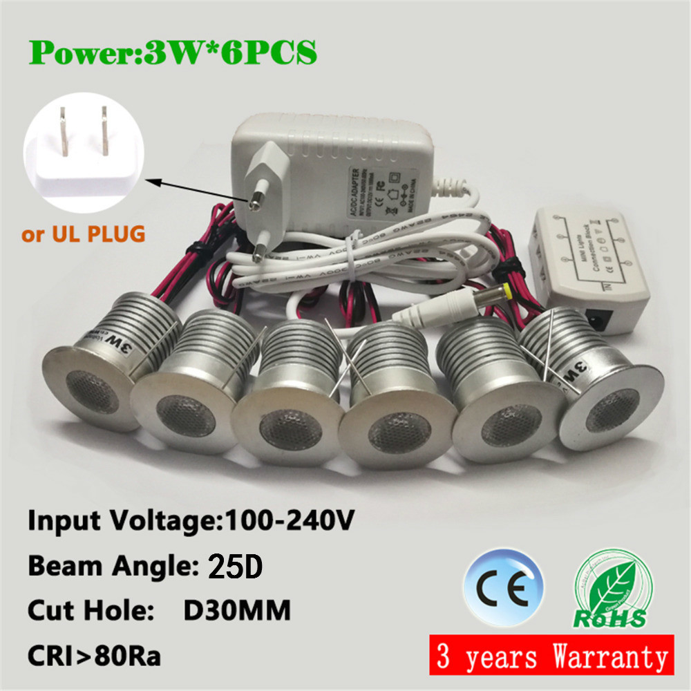 6pcs set 3W mini led spotlight wine cabinet lamp with dimmable CE driver IP52 30mm cutting
