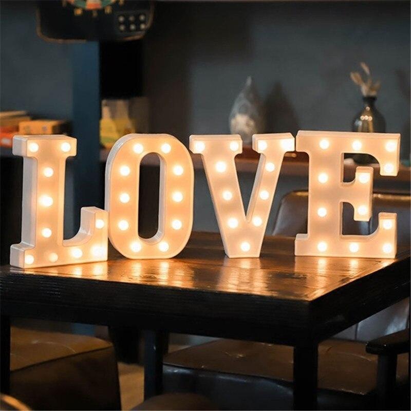 16CM de carta de LED de luz de la noche alfabeto de luz de la batería Culb pared decoración fiesta decoración de cumpleaños bodas regalo de día de San Valentín