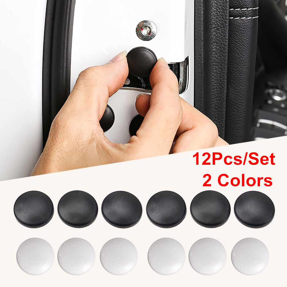 12Pcs/pack Car Interior Door Lock Screw Protector Cover Anti-Rust Cap Trim Stickers Car Door Lock Screw Protector Cover Caps