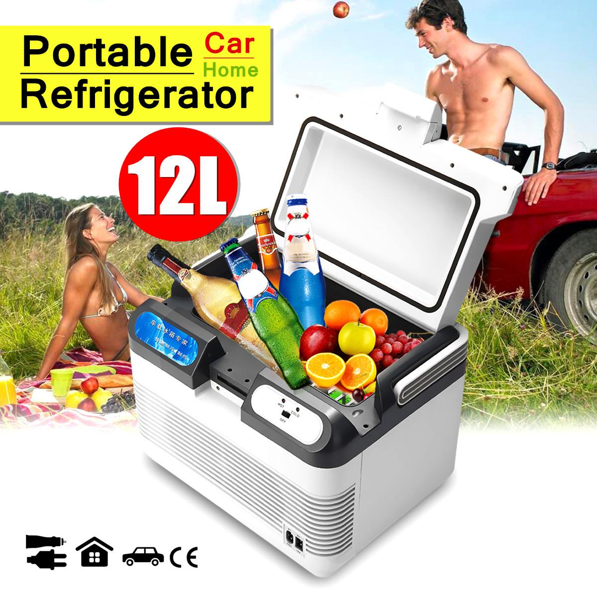 12L Portable Mini réfrigérateur 12 V/240 V voiture Camping maison réfrigérateur refroidisseur/réchauffeur avec 2 méthodes de charge avec poignée Portable