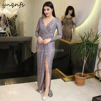YNQNFS E6 Sexy V Neck Long Sleeve High Slit Formal Dress Gray Sequin Long Dresses Evening Gowns 2019