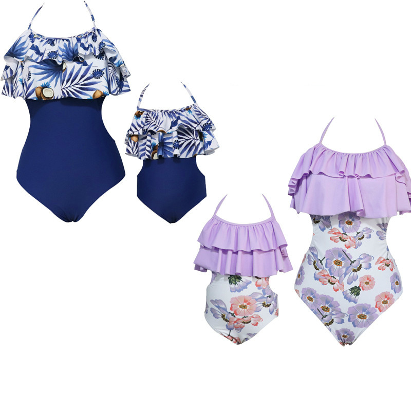New Fashion Mommy And Me Family Matching Floral One piece Swimwear Women Kid Girl Ruffles Backless Bikini Swimsuit Hot Beachwear in Matching Family Outfits from Mother Kids