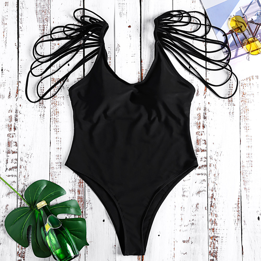 11ff55c2df7c7 LANGSTAR Women'S Swimming One-Piece Suits Scoop Neck Backless Padded  Strappy Solid Color Women Swimsuit