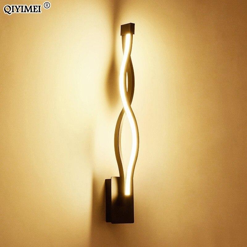 Lâmpadas de parede moderna e minimalista sala estar quarto cabeceira 16 w AC96V-260V led arandela preto branco lâmpada iluminação do corredor decoração