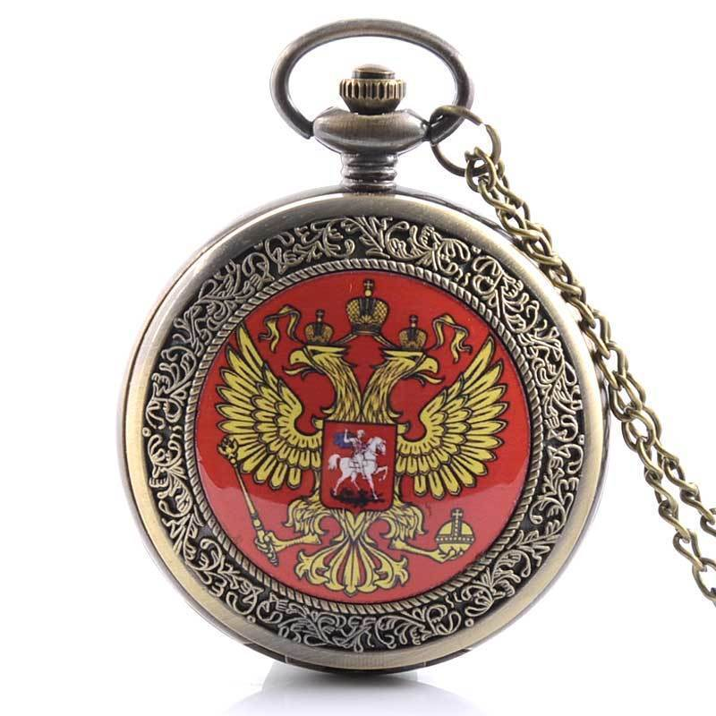 IBEINA Antique Bronze Eagle Russia Badge Pocket Watch Necklace Pendant Theme Full Hunter Quartz Engraved Fob Chain Gift