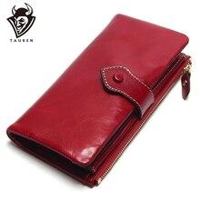 Vintage Leder Frauen Brieftasche Europäischen Und Amerikanischen Stil Aus Echtem Leder Geldbörse Marke Lange Dame Geldbörse Kuh Leder Weibliche Brieftaschen
