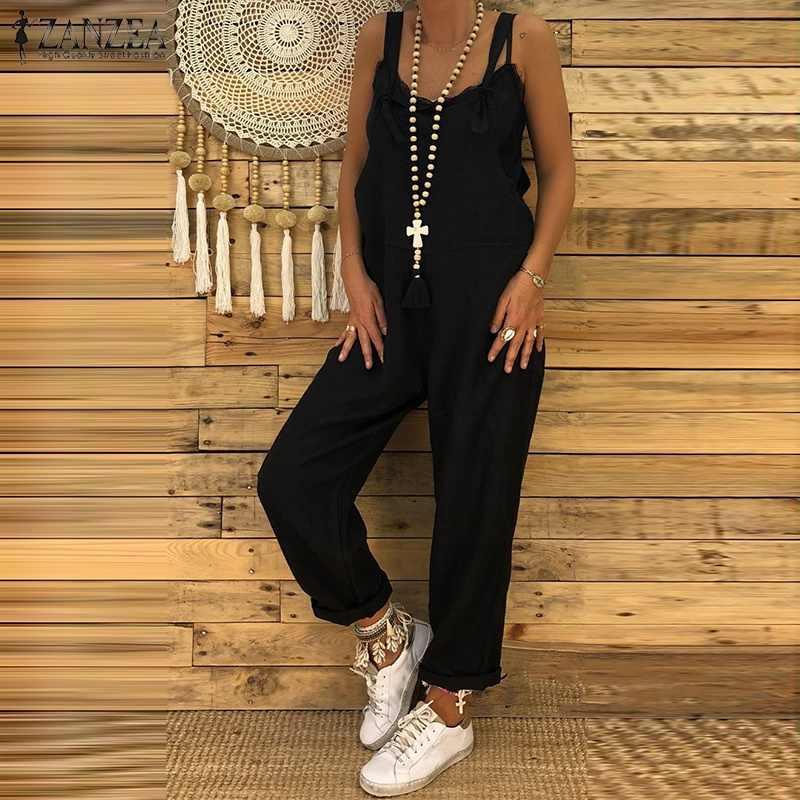 S 5XL ZANZEA 2019 Женский Повседневный однотонный комбинезон с ремешками винтажные хлопковые льняные свободные вечерние длинные шаровары Комбинезоны