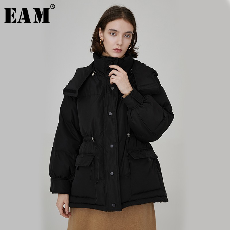 [EAM] 2019 New Spring Winter Hooded Long Sleeve Waist Drawstring Loose Big Size Cotton-padded Coat Women   Parkas   Fashion JL819