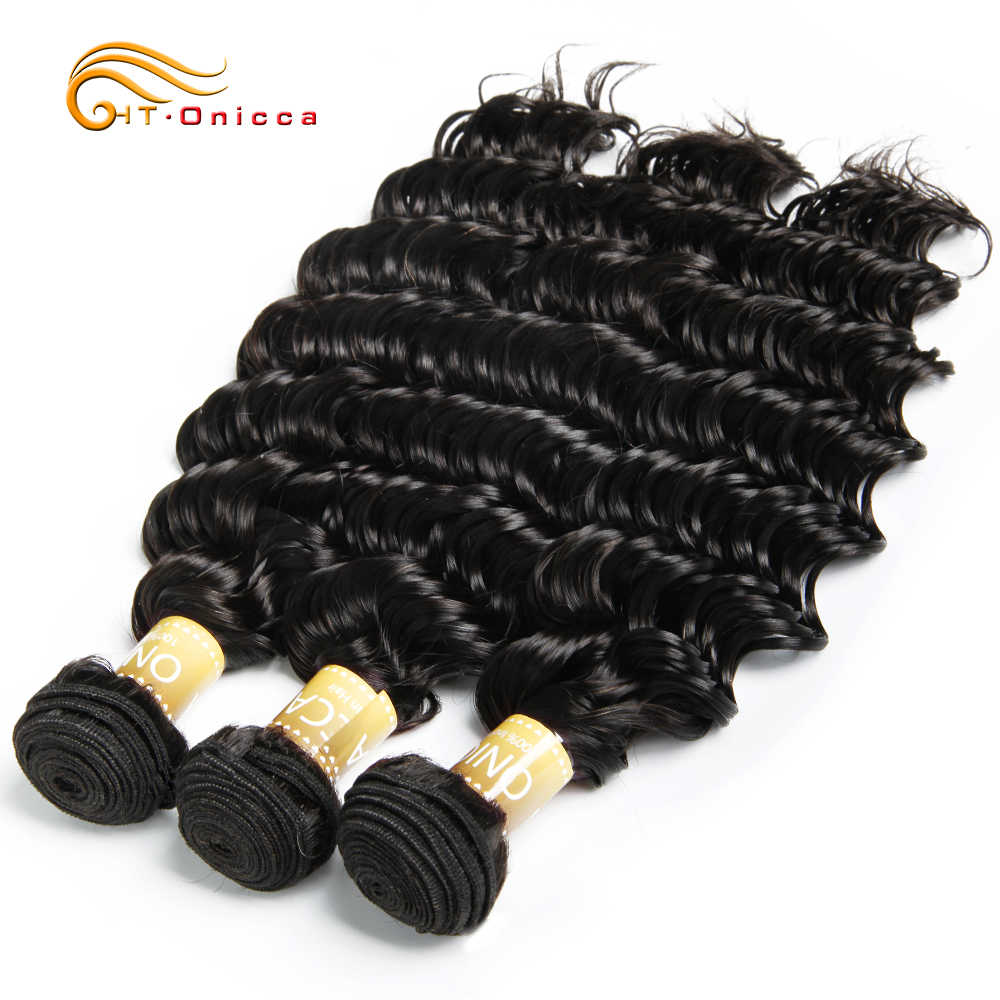 Indian Deep Wave Bundles Human Hair Extensions 1 3 4 Bundle Deals Onicca Non Remy Hair Weave Bundles 8-24 Inches Free Shipping