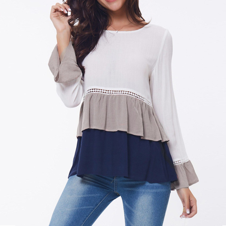 Fashion Women Casual Chiffon Blouses Long Sleeve Ruffle Shirt Plus Size Lace O Neck Blouses