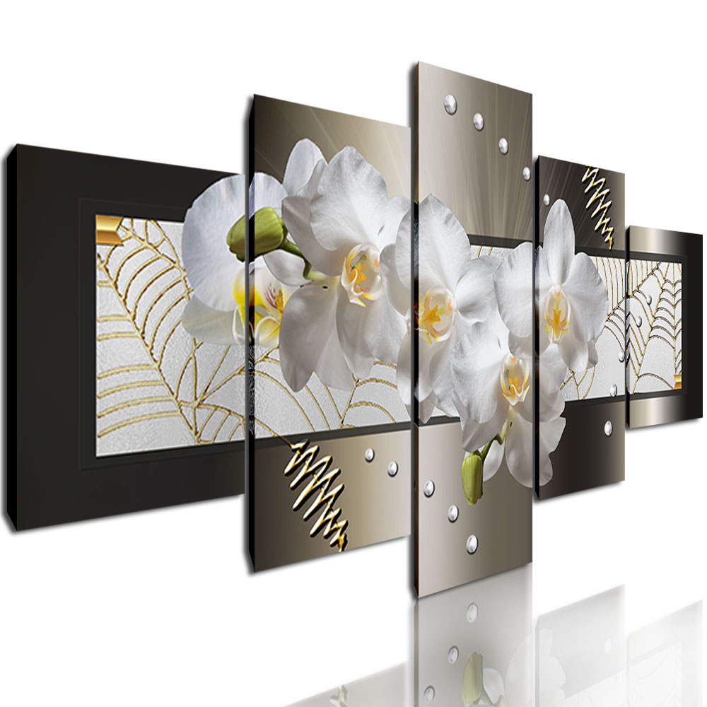 5 Panel Decorative Paintings Abstract Flower Wall Art HD ...