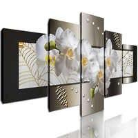 5 Panel Dekoratif Resim Sergisi Soyut Çiçek Duvar Sanatı HD Tuval Baskı Çerçeveli Beyaz Orkide Duvar Resimleri Yatak Odası Ev Dekor için