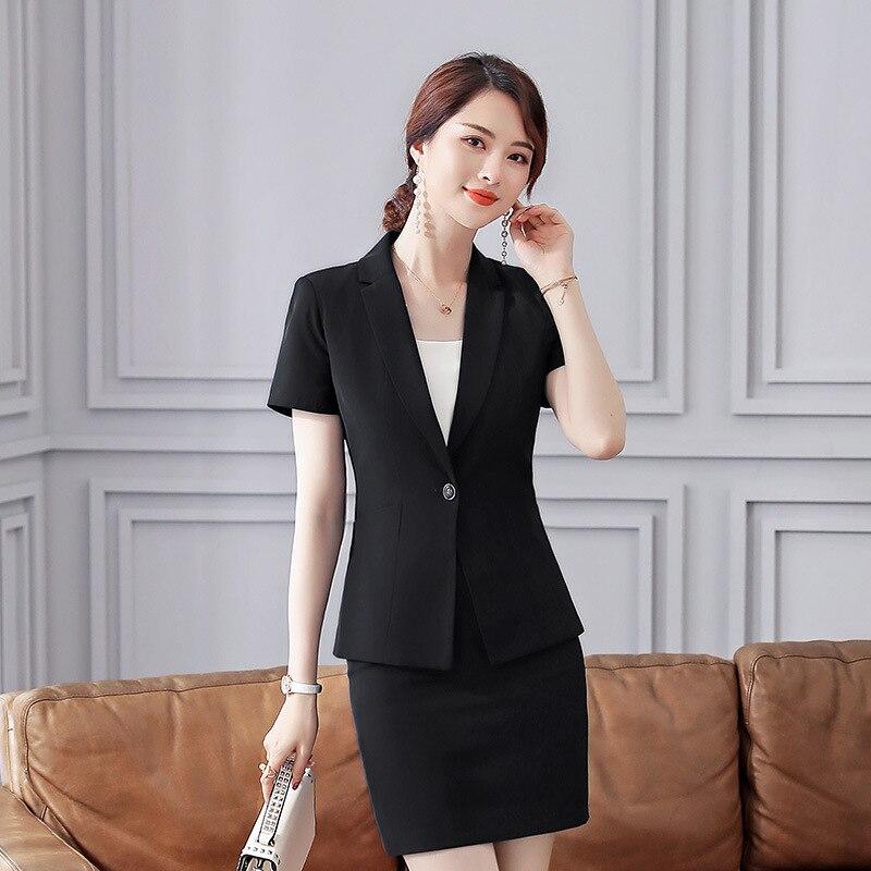 2019 Sommer Büro Dame Kurzarm Frauen Anzug Mode Kerb Kragen Blazer Jacke & Mini Rock Set