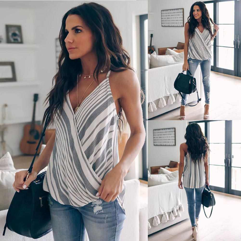 Women Summer Clothes Vest Top Sleeveless Casual Loose Striped Tank Tops V-Neck Regular Size Pullover Polyester Camis