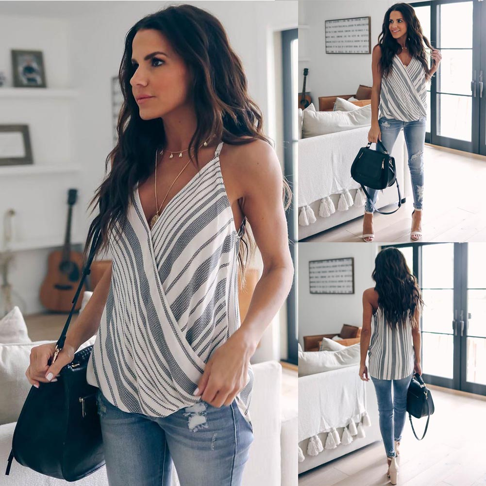 Women Summer Clothes Vest Top Sleeveless Casual Loose Striped Tank Tops V Neck Regular Size Pullover Polyester Camis-in Camis from Women's Clothing