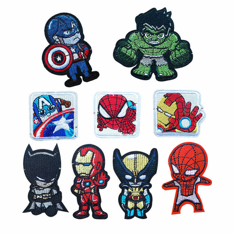 The Avengers Movie Patches Iron On Spider-Man Iron Man Appliques Moive Star Iron On Batman Embroidery Badge Clothing Accessory