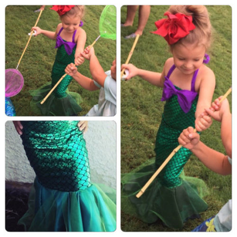 US Kids Ariel Little Mermaid Set Girl Princess Fancy Dress Party Cosplay Costume