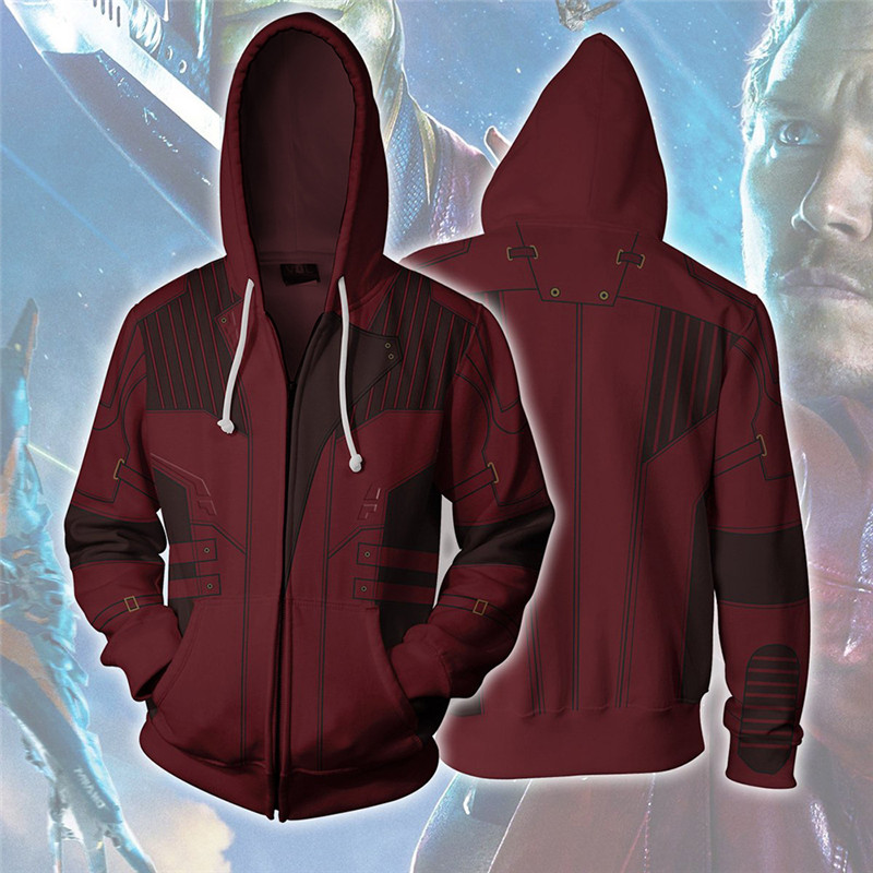 Guardians of the Galaxy Star-Lord Cosplay Costume Men's Sweatshirt Hooded Uniform Streetwear Women Mens Hoodies Zipper Hoddies