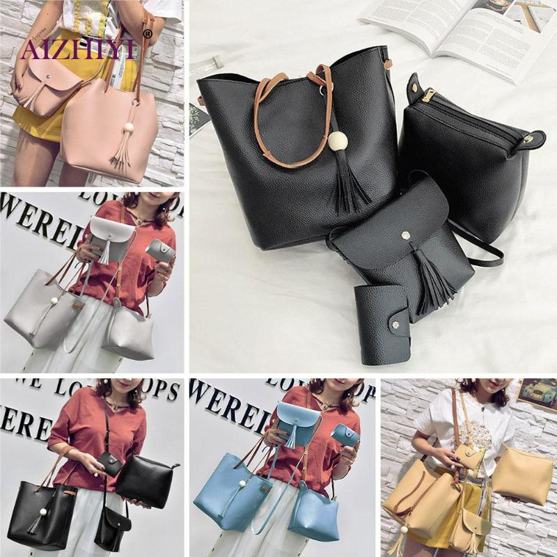 4Pcs/Set Tassel Bucket Shoulder Handbags Women Leather Card Holder Bags Bolso Femenino