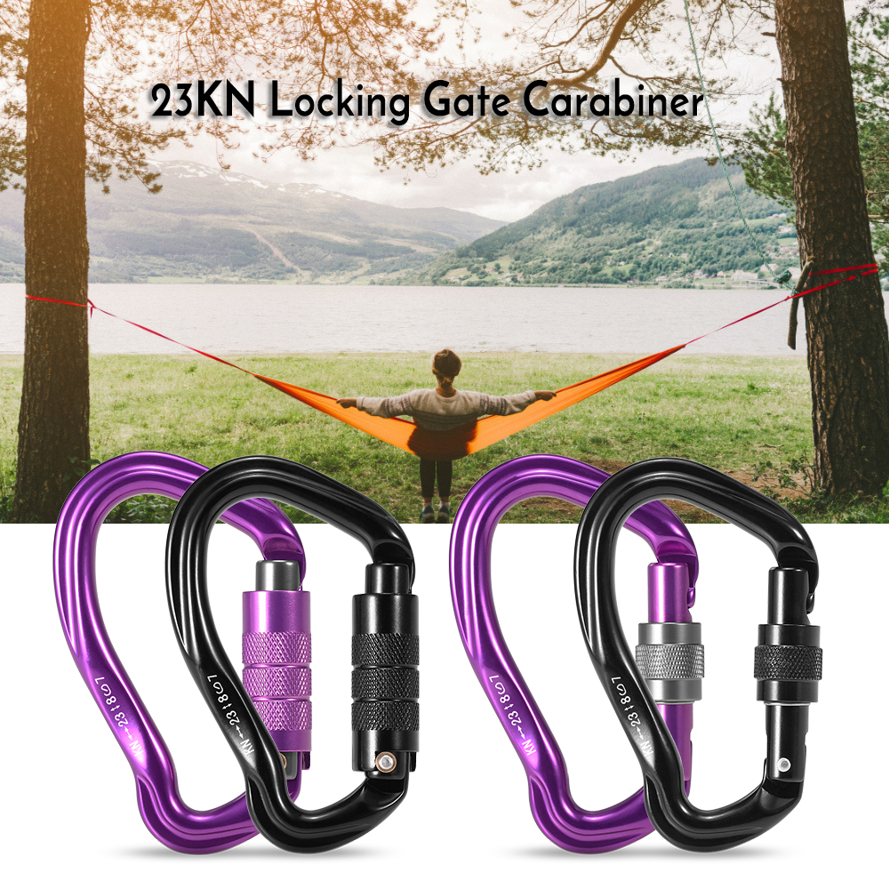 23KN Auto Locking Gate Carabiner Mountaineering Climbing Carabiners D Shape Buckle Pack D-ring Rappelling Hammock Locking Clip