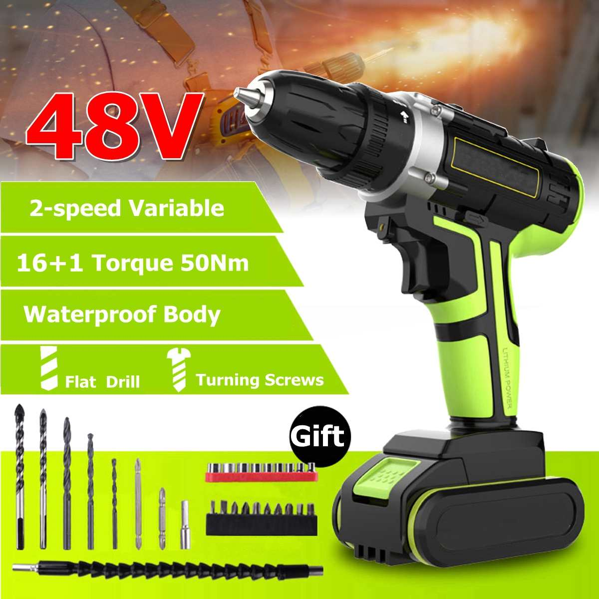 Electric Drills Power Tools Orderly Professional 48v Cordless Drill Daul-speed Adjustment Led Lighting Large Capacity Battery 50nm 16+1 Torque 28pcs Accessories