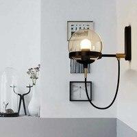 Postmodern Glass Ball Wall Lamp Iron American Retro LED Bedside Living room Corridor Stair Light Hotel Restaurant
