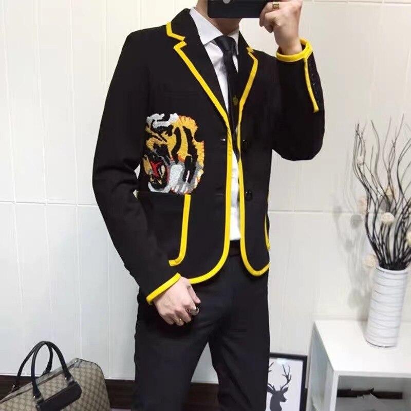 Homem terno cabeça de tigre casaco masculino bordado tendência hip-hop bordado logo jaqueta maré masculino blazer lazer tempo auto-cultivatio